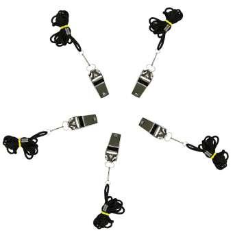 Trillerpfeife Signalpfeife Notfallpfeife mit Band zum Umhängen schwarz - 5 Stück