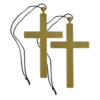 Priester-Kreuz mit Halsband 24 cm im Set - 2 Stück