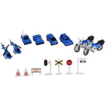 Autoset Polizei 15teilig, Hubschrauber, Motorrad, Autos, Schilder, Absperrungen