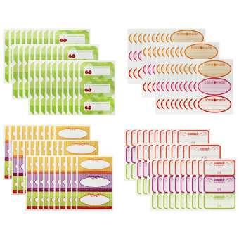 etiketten f r gl ser flaschen in 4 verschiedenen dekoren 120 st ck com. Black Bedroom Furniture Sets. Home Design Ideas