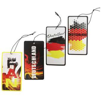 Duftbaum EM 2016 Set 2/ Lufterfrischer/ Vanille, New Car, Früchte, After Tobacco - 4 Stück