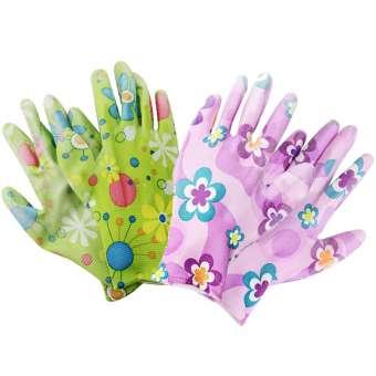 Gartenhandschuhe für Damen, Blumenmotiv, aus Latex, Antirutschbeschichtung, Einheitsgröße S - 2 Paar