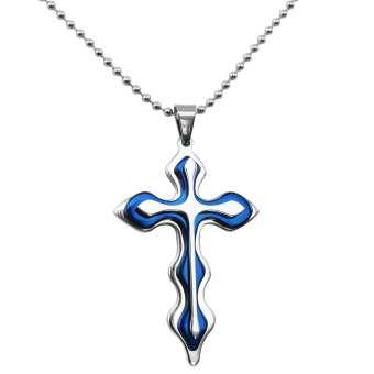 Kreuzanhänger mit drei Schichten aus Edelstahl in blau mit Kugelkette