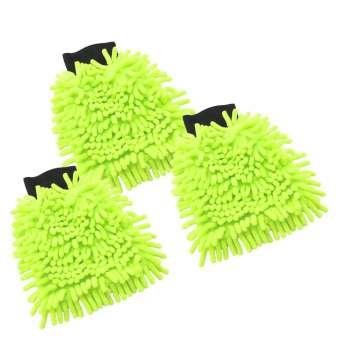 Chenille Putz,- und Waschhandschuh in neongrün, Microfaser, 22 x 16 cm - 3 Stück