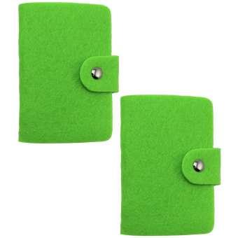 Filzetui mit 12 Fächern für Kredit-, Visiten- und andere Karten in grün - 2 Stück