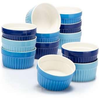Soufflé Förmchen - Creme Brulee Schälchen aus Keramik - Ofenfeste Förmchen - Dessertschale und Pastetenförmchen für z.B. Ragout Fin - je 200 ml - in verschiedenen Blautönen - 12 Stück