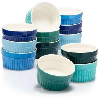 Soufflé Förmchen - Creme Brulee Schälchen aus Keramik - Ofenfeste Förmchen - Dessertschale und Pastetenförmchen für z.B. Ragout Fin - je 200 ml - in verschiedenen Grün- und Blautönen - 12 Stück