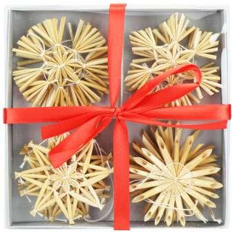 Strohsterne Set - Christbaum-Schmuck - Stroh-Anhänger für den Weihnachtsbaum - natürlicher Christbaum-Behang - Weihnachtsdekoration - Ø 6 cm - 12-teilig