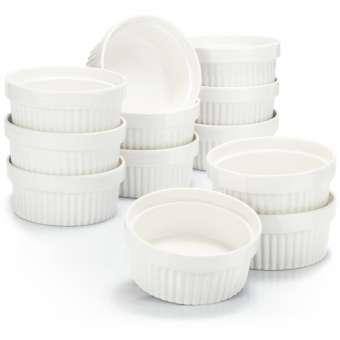 Soufflé Förmchen - Creme Brulee Schälchen aus Keramik - Ofenfeste Förmchen - Dessertschale und Pastetenförmchen für z.B. Ragout Fin - je 270 ml - in weiß - 12 Stück