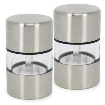 Mini Salz- und Pfeffermühle aus Edelstahl, Mahlwerk aus Keramik - 2 Stück