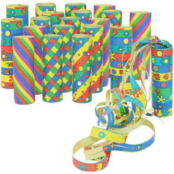 kleine Luftschlangen Rollen in verschiedenen Mustern als Party Deko für Geburtstage - Papierschlangen für Silvester [Auswahl variiert] - 20 Stück