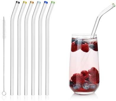 Glas Strohhalme Wiederverwendbar, 23 cm, Umweltfreundliche Glas-Trinkhalm mit plastikfreier Reinigungsbürste für Long-Drinks, Smothies - Spülmaschinenfest - 6 Stück