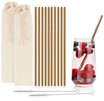 Edelstahl Trinkhalme, 21,5 cm, rostfrei, kupferfarben, Strohhalm mit Reinigungsbürste, wiederverwendbar - 10 Stück
