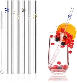 Glas Strohhalm - Wiederverwendbare Glas-Trinkhalme mit Reinigungsbürste - Umweltfreundliche Trinkröhrchen für Drinks und Smoothies - 6 Stück