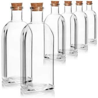 Glasflasche 500 ml mit Korken - Leere Flasche aus Glas mit Korkverschluss - Glasbehälter zum Befüllen mit Flüssigkeiten, Öl, Essig, Schnaps - 6 Stück